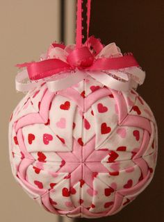 Pink and White Quilted Valentine Ornament by YouniqueOrnaments, $25.00