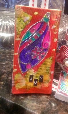 Mixed Media Canvas Christmas Ornaments created by Tamiko McCurry for May Arts Ribbon Challenge :)