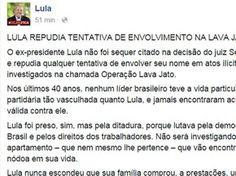 Reprodução de nota publicada na página do ex-presidente Lula no Facebook (Foto: Reprodução/Facebook)