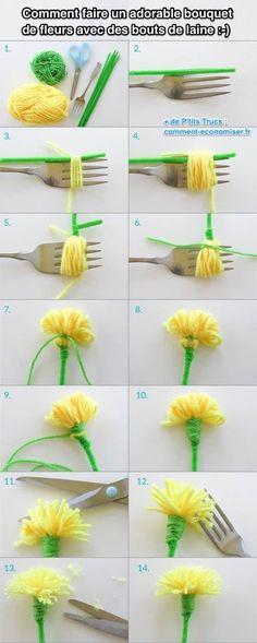 comment faire les fleur pompon en laine tutoriel