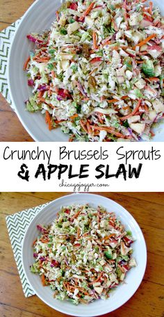 Crunchy Brussels Sprouts and Apple Slaw - a healthy side dish recipe with golden raisins. | Chicago Jogger