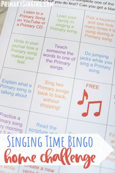 Free Singing Time Bingo printable sheet. Add this fun activity as one of your Primary Singing Time ideas or send it home with families for children to learn the Primary songs at home. Great for use with Come Follow Me. Pre-filled and blank bingo sheet so you can customize the challenges to fit your ward and family needs. For LDS Primary Music Leaders of the Church of Jesus Christ of Latter-day Saints! #LDS #Primary #PrimaryMusic #SingingTime #ChurchofJesusChrist #LatterdaySaints #ComeFollowMe Lds Primary Songs, Primary Program, Primary Singing Time, Primary Activities, Primary Lessons, Primary Music, Primary Education, Activity Day Girls, Activity Days