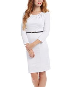 Another great find on #zulily! White Belted Dress #zulilyfinds