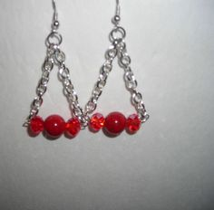 Handmade Drop Dangle Hook Earrings with Silver Chain and Red Beads/lightweight #Handmade #DropDangle/$7.00