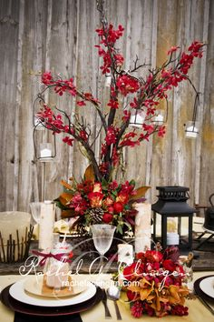 Rustic Red Branch Centerpiece
