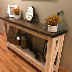 Items similar to Sofa table/ entry table/ entertainment stand on Etsy Sofa table/ entry table/ entertainment stand Farmhouse Sofa Table, Rustic Console Tables, Rustic Side Table, Unfinished Furniture, Solid Wood Furniture, Pallet Furniture, Sofa Table Decor, Luxury Furniture, Furniture Online