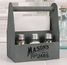 Mason Jar Crate Napkin and Salt and Pepper Caddy
