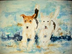 Wire Fox Terriers in the Ocean Painting Art Large, original painting by artist Sandra Merwin | DailyPainters.com