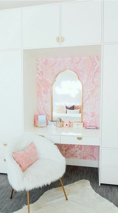 Vintage Pink Vanity Unit with Four Drawers and a Round Mirror by ForeverPinkVintage by Forever Pink from Glen Mills, PA Room Ideas Bedroom, Bedroom Inspo, Pink Bedroom Decor, Bedroom Girls, Dream Bedroom, Cute Room Decor, Pink Room, Aesthetic Room Decor, My New Room
