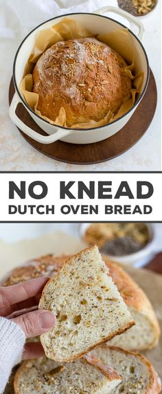 THE BEST HOMEMADE BREAD - and seriously easy to make even if youre not used to baking with yeast! Baked in a Dutch oven NO kneading required and can be made to eat the same day - no need to let it rise overnight. Your whole family will inhale this bread! Oven Recipes, Bread Recipes, Dutch Oven Bread, No Knead Bread, How To Make Bread, Bread Making, Recipe Using, The Best, Good Food