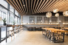 MUN Korean Restaurant, Melbourne. Design and Build by Salt Design and Construction. Vic Ash timber louvred ceiling feature by Timber Revival.