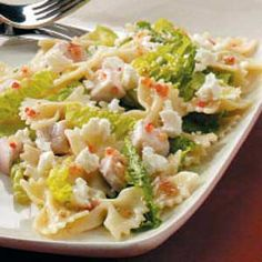 Feta-Pasta-Chicken salad: sounds perfect for summer- the whole meal in one cool dish!
