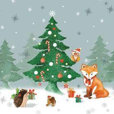 3644 Servilleta decorada Navidad