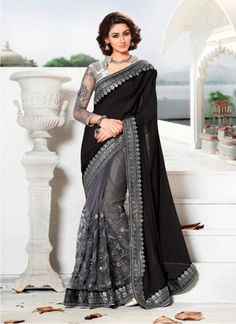 Buy Black & Gray Silk Georgette With Nylon Net Designer Saree