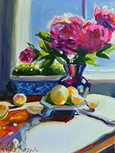 """SUMMER STILL LIFE by ROSSLEE CECILIA Oil ~ 12"""" x 9"""""""