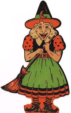 Halloween Witches, Halloween Crafts, Halloween Ideas, Happy Halloween, Vintage Witch, Vintage Love, Retro Vintage, Vintage Halloween Decorations, Cut Outs
