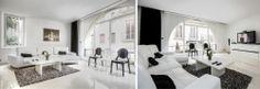 Appartamento parigino chic. La zona living fornisce molta luce naturale, mentre il divano moderno e collezione di mobili moderni di design crea uno spazio accogliente per voi ei vostri ospiti.