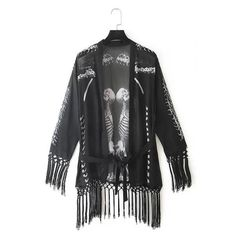 Street Style Collarless Skeleton Print Lace-Up See-Through Long Sleeve Blouse For Women, AS THE PICTURE, L in Blouses | DressLily.com