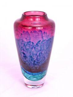 Nielander Glass - Large Water Veil Vase in Ruby/Turquoise/Purple
