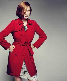 Marina Rinaldi Label.  Red Trench is striking.