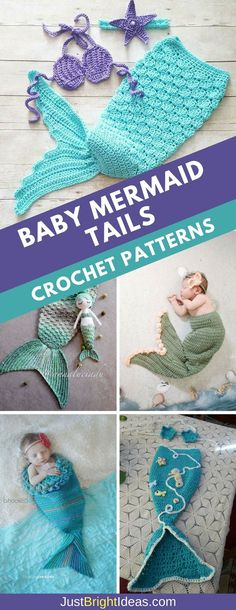 Crochet Baby Mermaid Tail Patterns: These crochet baby mermaid tail patterns are a must make if you are a planning a newborn photo shoot. Be sure to watch the video tutorials to show you how easy they are to make. #crochet #crochetpatterns #baby
