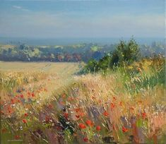 'Poppies and Barley, Thornham Coast, Norfolk' by Rex Preston. Part of his two man exhibition with Mark Preston, opening at gallerytop on 3 October 2015 Fantasy Landscape, Abstract Landscape, Landscape Paintings, Contemporary Landscape, Impressionist Art, Cool Landscapes, Preston, Painting Inspiration, Painting & Drawing
