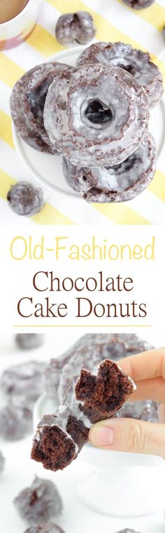 These old fashioned chocolate cake donuts are light and perfectly cakey with an explosion of chocolate flavor! The glaze gives them just a little extra sweetness. Perfection.