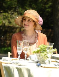 Lady Edith at an event... with a cup of tea of course!