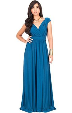 bf0af4f4eb324 Cheap Koh Koh Plus Size Womens Long Cap Short Sleeve Cocktail Evening  Sleeveless Bridesmaid Wedding V-neck Empire Waist Vintage Gown Gowns Maxi  Dress ...
