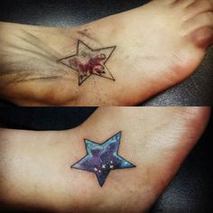 She got the hook up! Charged her next to nothing. Nebula galaxy over letters and music notes. Took an hour. #tattoolife #foottattoo #coveruptattoo #tattoocoverup #galaxytattoo #nebulatattoo #startattoo #ankletattoo #reworktattoo #tattoorework by keller.art