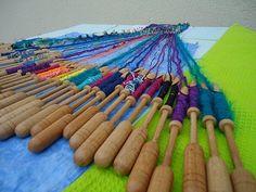 Free Colours - funky coloured bobbin lace
