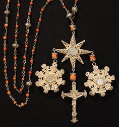 Coral and gold antique rosary.