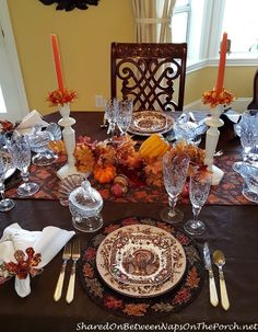 Thanksgiving Table With Johnson Brothers His Majesty & Williams Sonoma Plymouth Oak