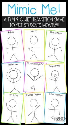 Mimic Me is a FUN game to get students out of their seats and refocused! Mimic Me can also be used as a brain break or transition activity, for indoor recess, on a field trip for the lag time, or as a sub activity.