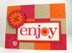 Cuttlebug Embossing Folder - Spots & Dots, Squares are punched! Card by Mary Fish.