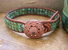 Beachy wrap bracelet Sea Urchin leather boho by 3DivasStudio