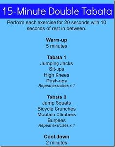 15 Minute Double Tabata -- 20 on / 10 rest