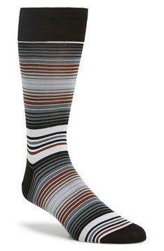 Men's Bugatchi Stripe Cotton Blend Socks - Grey