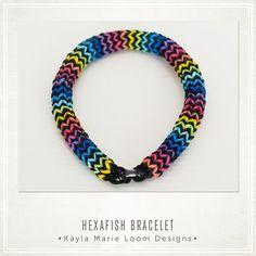 Hexafish Rainbow Loom Bracelet ★ Epinglé par le site de fournitures de loisirs créatifs Do It Yourself https://la-petite-epicerie.fr/fr/9-creation-de-bijoux-perles-apprets-breloques-pas-cher-loisirs-creatifs ★