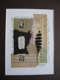 Mixed media art with feather and stamp and poetry