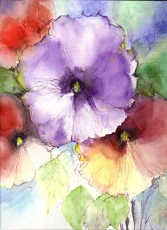 Original Water Color Painting Floral Abstract by veekayart2010