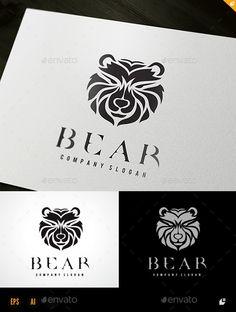 Bear: Animal Logo Design Template by LayerSky. Logos, Logo Branding, Unique Logo, Cool Logo, Logo Design Template, Logo Templates, Native Symbols, Web Design, Graphic Design