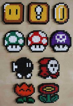 Super Mario perler bead sprites by =Don Cristo=