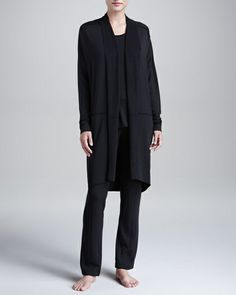 Donna Karan New York Black Modal French Terry Long Lounge Pants