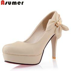 Grande size34-43 2015 Nova saltos altos das mulheres bombeia sapatas da mulher sexy lady pu de couro vestido de trabalho sapatos de casamento bege