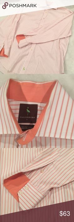 Tailorbyrd Button Down striped shirt Tailorbyrd Button Down Shirt. Orange and white stripes. Size large. Tailorbyrd Shirts Dress Shirts