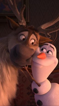 A Frozen 2 wallpaper of a cute interaction between Sven and Olaf. Disney Olaf, Frozen Disney, Disney Toys, Disney Art, Disney Movies, Elsa Frozen, Disney Characters, Fictional Characters, Cartoon Wallpaper Iphone