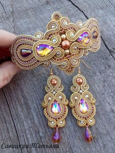 Bridal Gold Sparkling Soutache Set-Gold by MagicalSoutache on Etsy