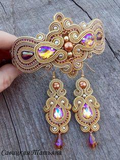 Bridal Gold Sparkling Soutache Set-Gold by MagicalSoutache on Etsy
