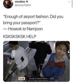 hoseok ain't having anymore passport drama Bts Namjoon, Bts Bangtan Boy, Jung Hoseok, Seokjin, Jhope, Taehyung, Bts Jimin, Bts Memes Hilarious, Bts Funny Videos